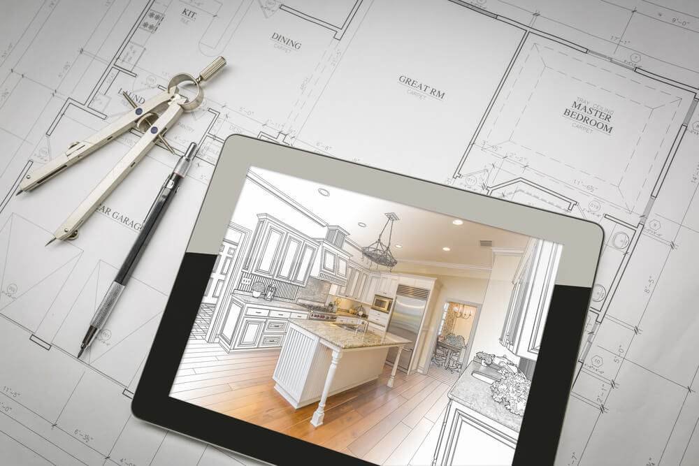 Layout picture with custom kitchen sketch, blueprint and tablet.