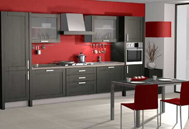3D kitchen rendering with dark modern cabinetry.