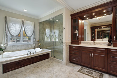 Wichita-bathroom-vanities in rich dark wood.