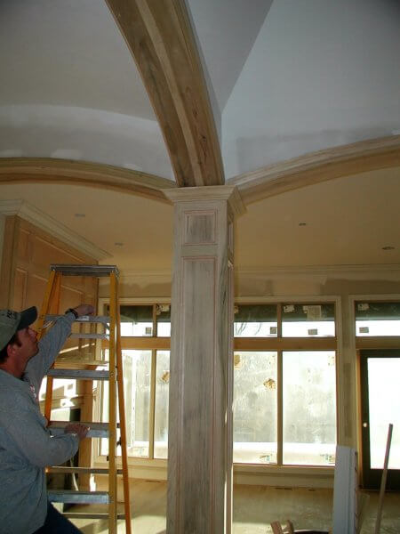 Paneled custom column with curved mouldings in Wichita, Ks.