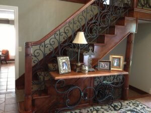 Cherry Staircase with welded iron railing