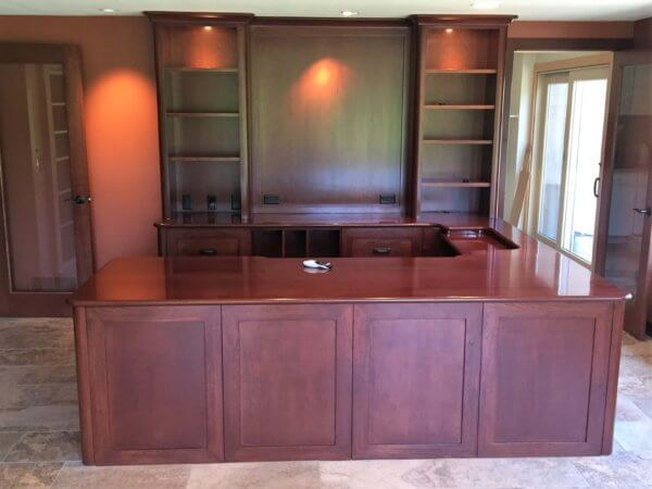 Cherry desk with Brazilian Cherry (Jatoba) top, bookcases, and recessed area for laptop.