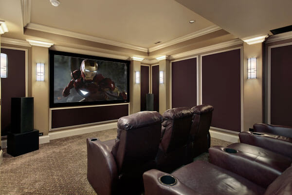 Luxury home theaters and media rooms. Elegant mouldings, ample seating and a huge TV.