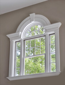 Painted Window Moldings With Crown And Round Top