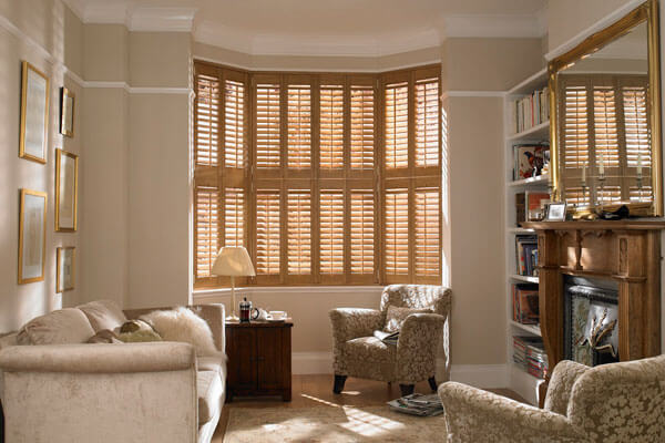 Indoor plantation shutters in solid wood.