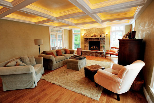 Luxurious back-lit trey ceilings with painted beams and crown moldings.