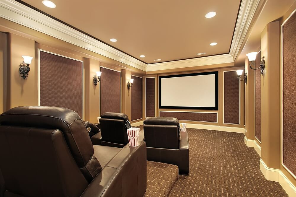 media room with lots of mouldings.
