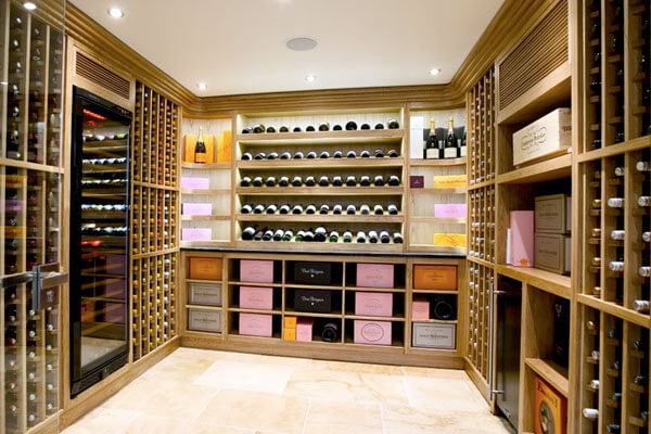 Modern wine cellar builder with beautiful wine room and bulk wine storage.