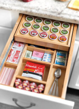 Rev a shelf coffee and tea drawer available with installation from Records Cabinets Wichita.