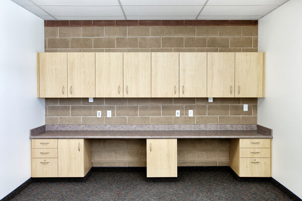Industrial cabinetry in new school