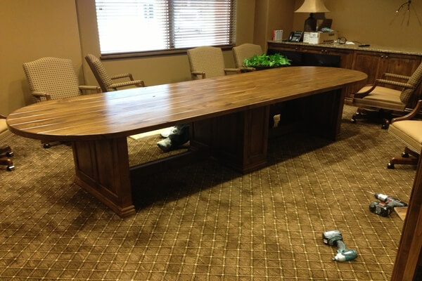 Custom built alder conference table in local bank