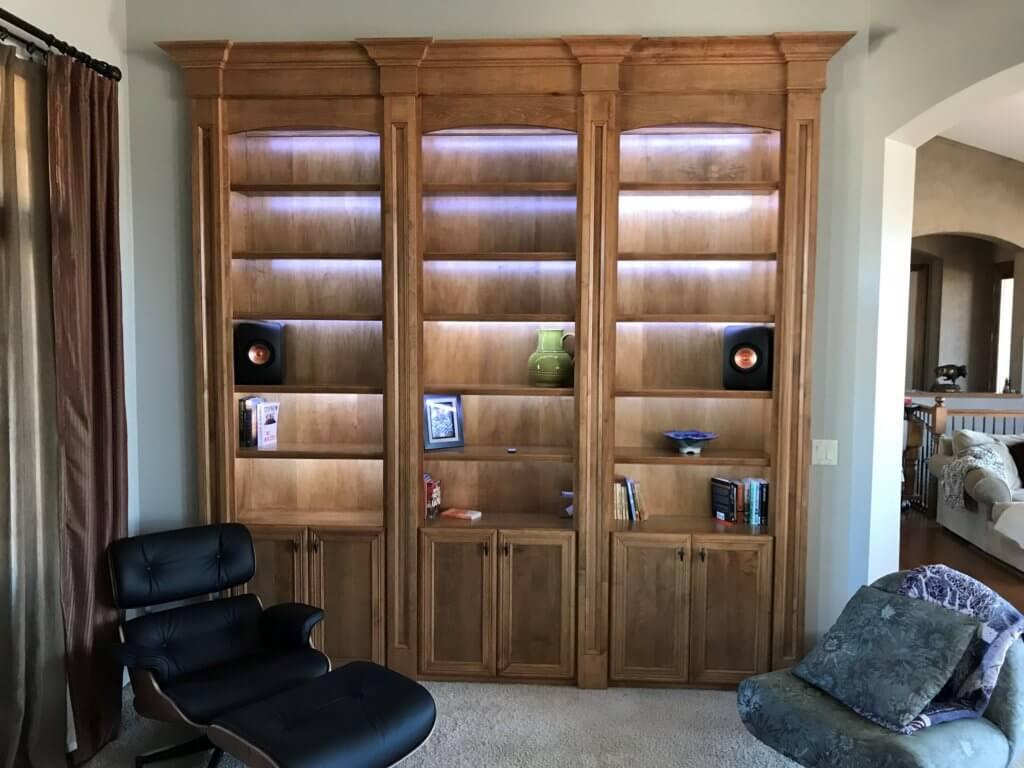 Custom maple bookcase with hidden LED lights